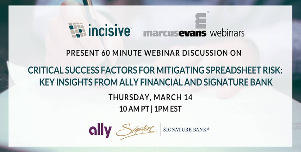 Join Ally Financial and Signature Bank on Mitigating Spreadsheet Risk