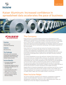 Kaiser Aluminum: Increased Confidence in Spreadsheet Data Accelerates the Pace of Business